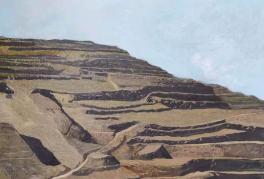油画《家在黄土高坡》