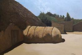 油画《麦场》