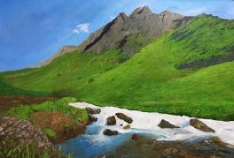 油画《高山流水》