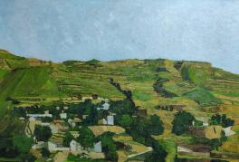 油画《家在黄土高坡一》